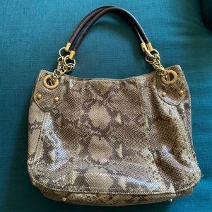 CYNTHIA ROWLEY Python Print Leather Shoulder Bag